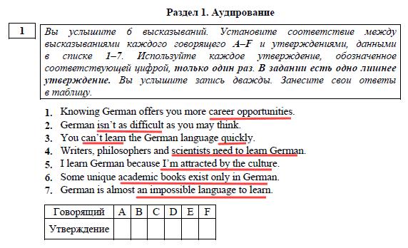 Audirovanie EGE anglijskij yazyk zadanie 1