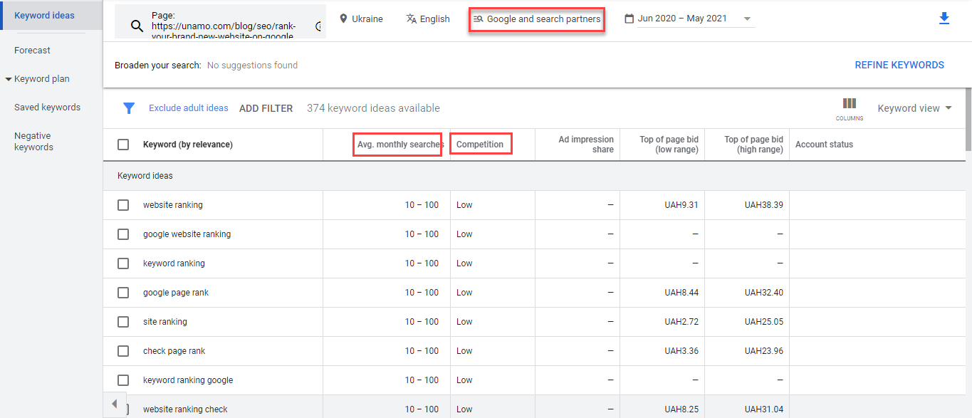 google-keyword-planner-englishwithpolina-start with a website